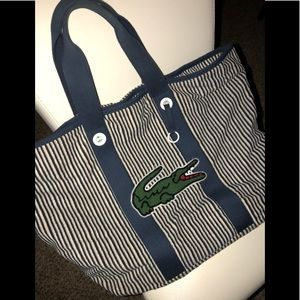Lacoste Navy and white striped croc tote